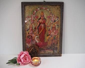 Beautiful Vintage Antique Hindu Lakshmi Indian God Goddess Diwali Framed Holy Devotional Puja Print Shrine Picture Art Lithograph