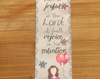 Bible Verse Bookmark - Psalm 35:9 -  handmade WITHOUT tassel  (stock #19) rejoice in his salvation
