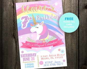 Unicorn Birthday Invitation, Unicorn Invitation, Magical Invitation, Rainbow Birthday Invitation, Rainbow, Glitter, Girl, Magical, Party