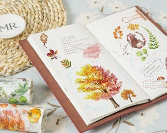 9cm Wide Nature Collection Washi Tape Set - Plant, Leaf, Tree, Flower, Seasons, Planner, Journal, Craft, Scrapbooking, Decoration