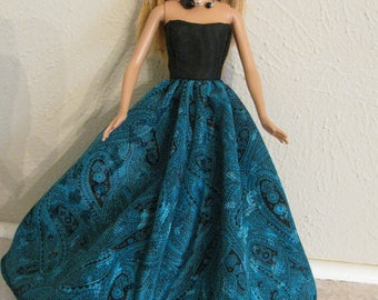 Barbie doll clothes-green gown