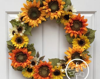 Fall Wreath, Autumn Wreath, Sunflower Wreath, Yellow Orange Wreath, Front Door Wreath, Wreath Street Floral, Grapevine  Wreath, Door Wreath