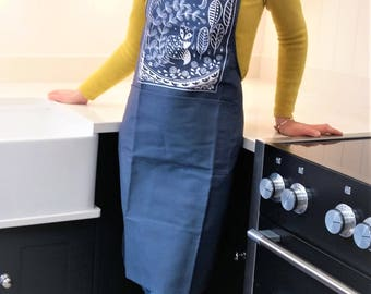 Daniel Fox Adult Apron in navy blue, Scandi style Christmas gift for cookery fun