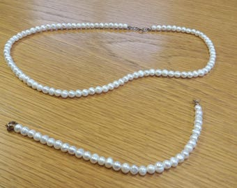 Vintage Faux Pearl Bracelet and Necklace Set - Dress UP - Dinner Party Prom - Kitsch Chic