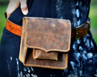 EDC leather belt bag, utility waist bag, hip pouch, waist purse, man purse, leather fanny pack, distressed leather, twice compartmented