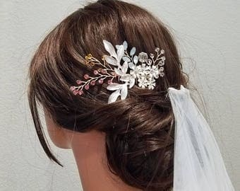 BLUE BONNET | Something Blue Gold Bridal Hair Comb with Crystals and Flowers- Free Shipping