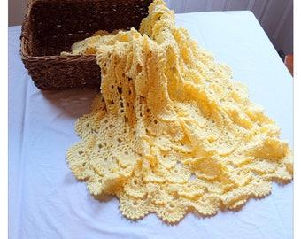Handmade Crochet Yellow Baby Blanket