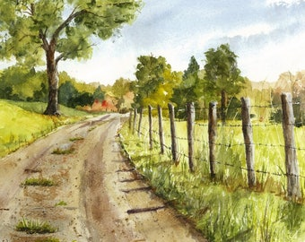 Original Watercolor Painting, Landscape Painting, Country Road, Rural Landscape, New England Watercolor Landscape, Mat Included