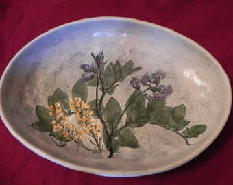 Salt marsh pottery wildflower plate bowl flower ceramic pottery