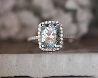 Aquamarine White Gold Engagement Ring, Cushion 9x7mm Natural Aquamarine and Diamond Halo Bridal Ring, Wedding Ring, Half Eternity Diamond
