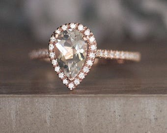 Engagement Ring, White Topaz Pear 9x6mm Rose Gold Ring, Bridal Ring Set, Diamond Halo Ring, Diamond Half Eternity Band, Promise Ring
