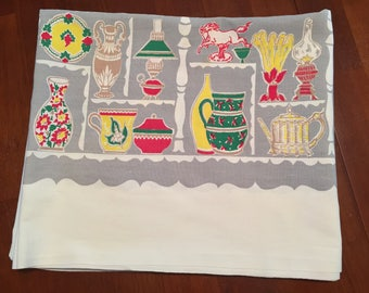 Vintage Startex Tablecloth Antique Collectible Pattern Printed Cotton Tablecloth