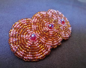 Hand beaded hair barrettes,beaded barrettes,hair accessories,