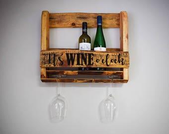It's wine o'clock, fun personalised Wine rack, wall mounted wine rack, wine & glass holder, wine bottle holder, housewarming gift, wine rack