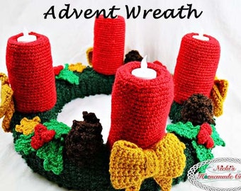 Crochet Pattern: Advent Wreath for Christmas with flameless Tealights