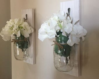 Set of 2 mason jar lantern, Lantern, Entryway decor, Wall Scones, bathroom wall decor, living room decor, kitchen decor, hanging lantern