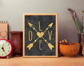 Chalkboard Art, Gold Love Arrow, Arrows Printable, Instant Download, Printable Home Decor, Digital Art Print, Love Art Print, 8x10 Arrows
