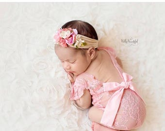 Newborn Girl Lace Romper, Newborn Girl Pink, Newborn Photo Outfit, Newborn Baby Girl Props, Newborn Photography Prop