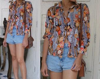 Summer blouse Floral blouse  70s boho vintage flower clothing 1970s vintage style