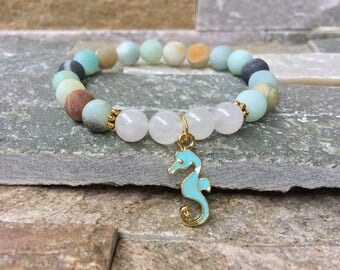 Seahorse jade Amazonite bracelet summer joy of life