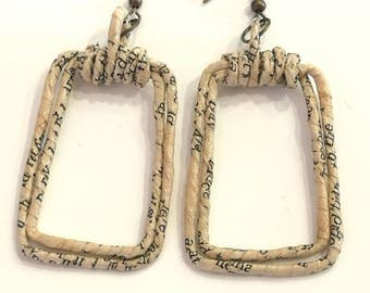 Comic Book Jewellery Recycled Vintage Book Text Earrings