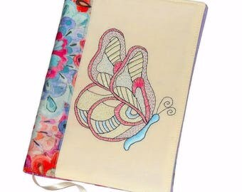Butterfly Fabric Book Cover, Reusable Travel Journal, Embroidery Notebook, Textile Diary Cover, Handmade Notebook Case, Gift for Her