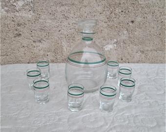 Vintage French Liquour Set, glass drink set, French drinking sets, liquour glasses,