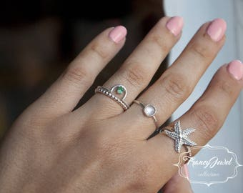 Emerald, boho ring, emerald ring, eco-jewelry, Argentium Silver, handmade ring, made in Italy, nichel free, engagement ring, wedding ring