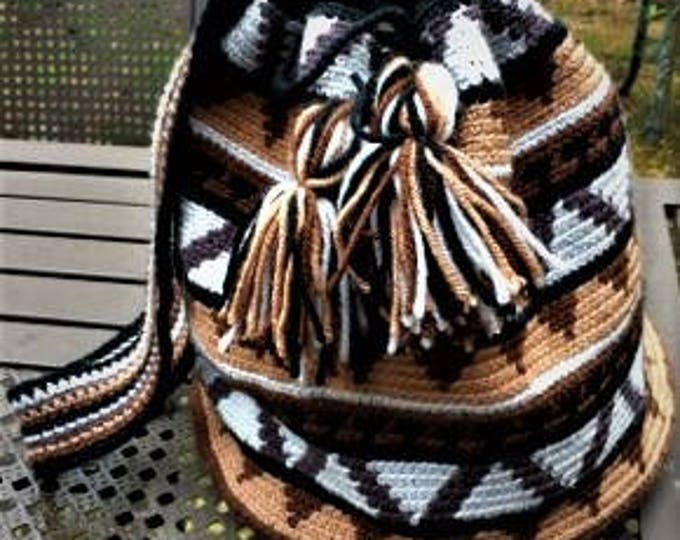 Heritage Tapestry Crochet Wayuu Bag with Drawstring