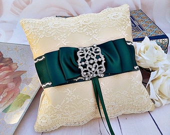 Green Ring Bearer Pillow, bridal ring pillow, bridal pillow, wedding accessory, bridal accessory, ivory and green ring pillow, green wedding