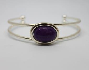 Purple Mountain Jade Silver Cuff Bracelet