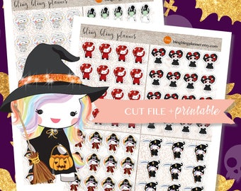 KAWAII HALLOWEEN Stickers, Halloween stickers for planners, printable stickers halloween, Witch Stickers, October planner stickers, 2 dollar