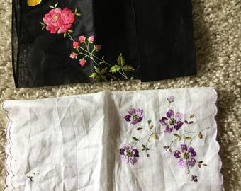 Two vintage handkerchiefs with embroidery