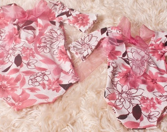 Photographers Prop,Newborn/Sitter sizes,Baby Girls,White & Pink Floral,Stretch Rompers,Great for Newborn or Cake Smash Photoshoot,Handmade