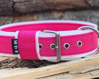 """Dog collar - dog - collar strap - collar Doggy """"Colors - Fuschia/white"""