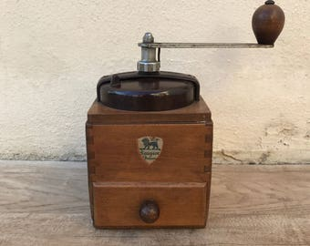 Vintage PEUGEOT Coffee Grinder Mill, French metal brown colour 2601185