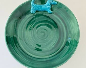 Dachshund Serving Plate in Blue and Green