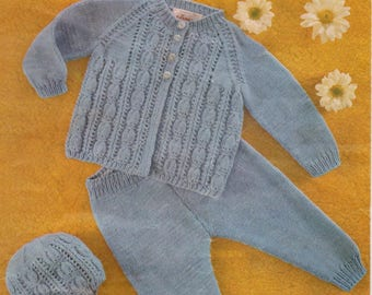 PDF knitting pattern by Robin.  2229 (18 – 22 ins).  Out Door  Set