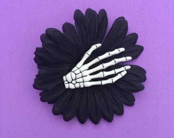 Goth Fascinator, Day of the Dead, Black And White, Skeleton Hand, Hair Flower, Hair Clip, Download Festival, Pin Up Clip, Goth Hair Clip