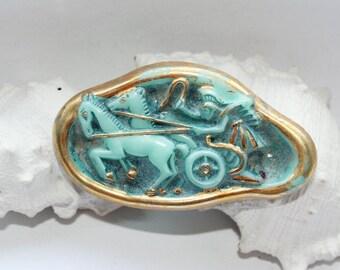 Brooch, Vintagebrosche, Art Deco, rarity, Jablonec glass, unique and rare,.