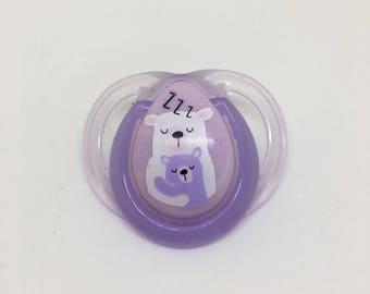 Purple Bear REBORN Girl's Doll Non Magnet Putty PACIFIER Paci