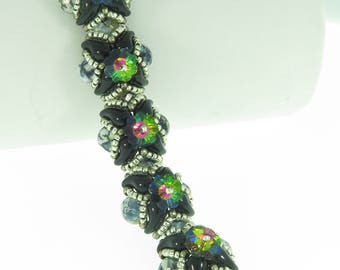 Chunky Licorice - Beading Tutorial - Gems Swarovski and Zoliduo Bracelet - Beading Pattern - Zoliduo Beaded Bracelet Tutorial - Bracelet PDF