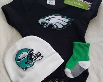 Philadelphia eagles baby outfit,philly eagles baby,newborn eagles,ny Philly eagles baby boy shower gift,baby eagles/baby philly eagles