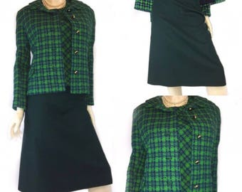 Vintage Green Plaid Top & Blazer