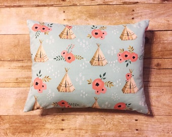 TeePee Floral Travel Pillow | Pillowcase | TeePee Envelope Pillow | 12inx16in