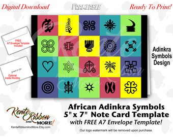 DIY - African Adinkra Symbols 5x7 Card Template - Multi-Color - Grateful for You, Optional Inside Wording - Free A7 Envelope Template