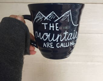 the mountaints are calling handpainted mug