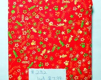 Fabric -1 yard piece -Red KRAZY KRITTER/orange/green/yellow/yarn/fishbones/stars/paw prints-(see store for coordinating fabrics) (#232)