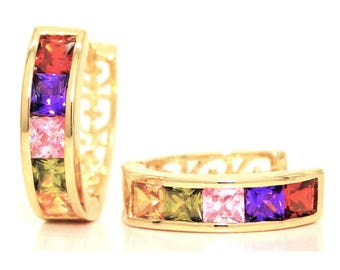 Princess real gold plated hoop earrings, Rainbow princess gemstones, Square red purple gems, Genuine gold green citrine stones, Gift box