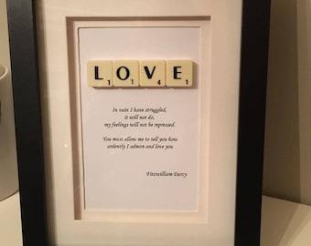 Fitzwilliam Darcy Pride and Prejudice Quote Scrabble Picture